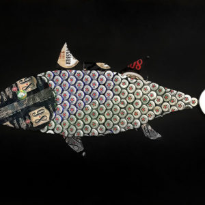 tableau recycle art poisson galerie venturini antibes