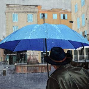 Blouson cuir, Boulevard d'Aguillon, chapeau, fontaine, galerie venturini, JJV, parapluies, pluie