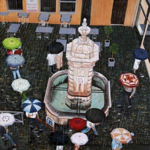 Boulevard d'Aguillon, fontaine, galerie venturini, JJV, parapluies