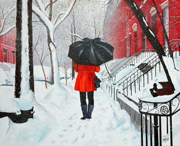 Brooklyn, Femme, galerie venturini, JJV, manteau rouge, neige, parapluie