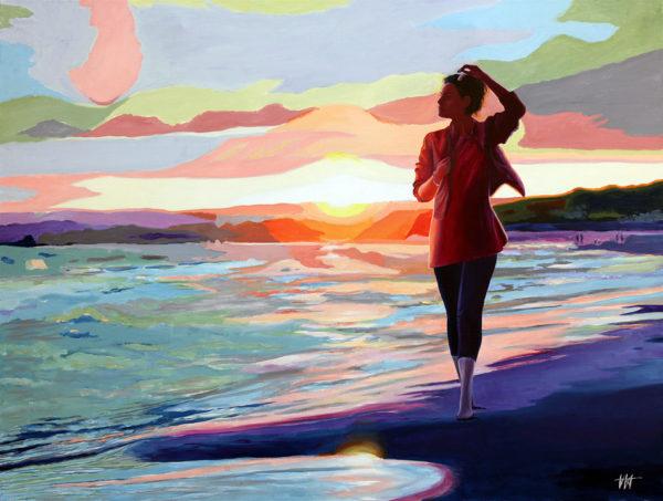 Femme, galerie venturini, JJV, mer, plage, soleil couchant