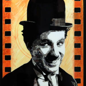 antibes, chaplin, cinéma muet, cinéma noir et blanc, galerie venturini, Newspaper Art, people
