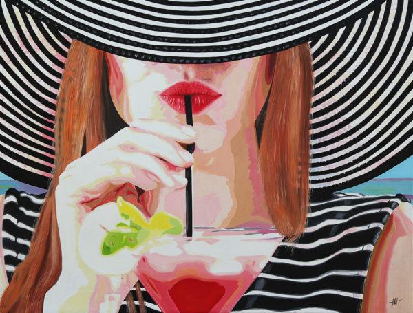 chapeau, cocktail, Femme, galerie venturini, JJV, levres, paille