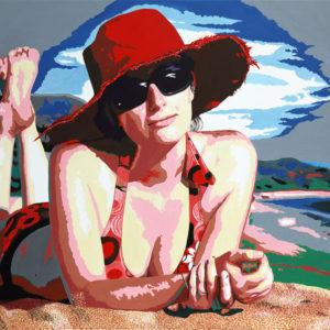 chapeau rouge, Femme, galerie venturini, JJV, lunettes de soleil, plage, Pop Art