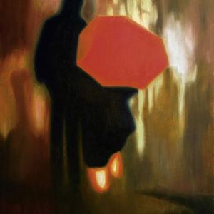 couple, galerie venturini, JJV, nuit, parapluie rouge