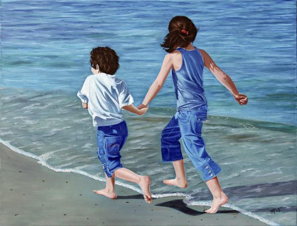 course, enfants, galerie venturini, Jeans, JJV, mer, plage