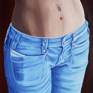 bleu, Femme, galerie venturini, Jeans, JJV, piercing, ventre