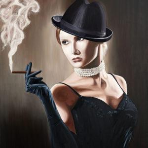 chapeau, cigare, Femme, fumée, galerie venturini, Jeans, JJV