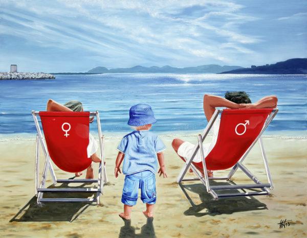 famille, Filiation, galerie venturini, iles de lerins, JJV, Juan les pins, mer, parents, plage, plage du crouton, transat, Venturini Antibes