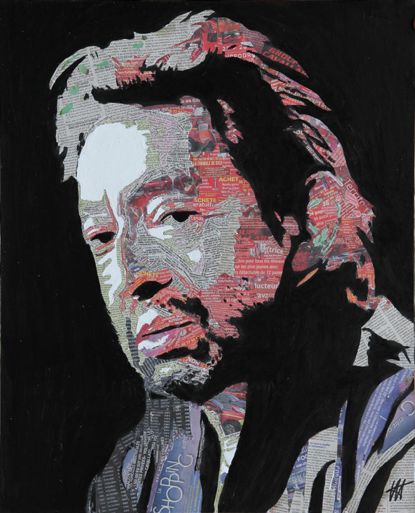 antibes, chanteur francophone, gainsbarre, gainsbourg, galerie venturini, Newspaper Art, peinture gainsbourg, people