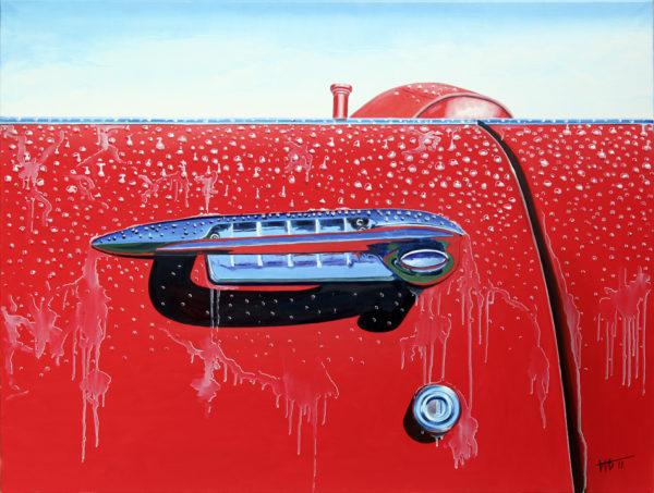cabriolet, chromes, galerie venturini, pluie, poignée de voiture, portière, rouge, sérrure