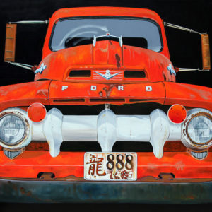 888, calendre, capot, chromes, dragon, ford, galerie venturini, Old cars, orange, phares, rétroviseurs, rouille