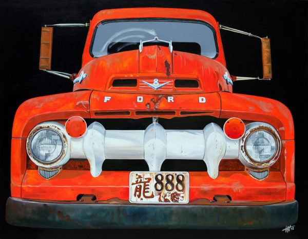 888, calendre, capot, chromes, dragon, ford, galerie venturini, Old cars, orange, phares, rétroviseurs, rouille