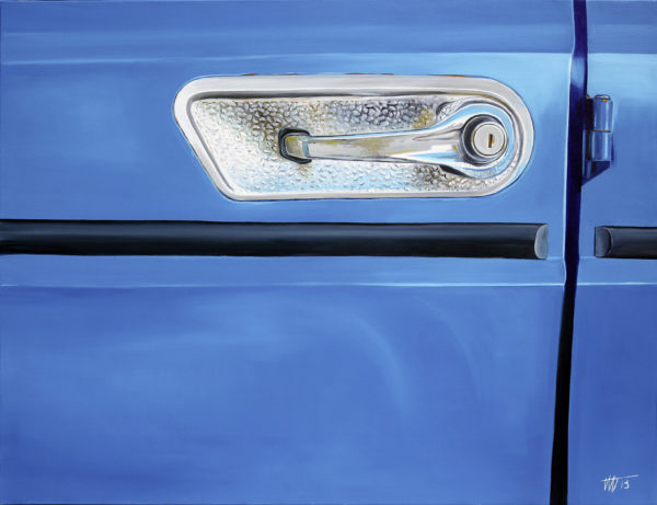 bleu, chromes, galerie venturini, poignée de voiture, portière, sérrure