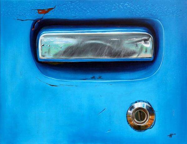 antibes, bleu, chromes, galerie venturini, Old cars, poignée de voiture