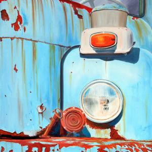 bleu, calendre, claxone, clignotant, filtre à air, galerie venturini, Old cars, pare brise, phares, portière, rouille