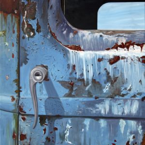 bleu, galerie venturini, poignée de voiture, portière, rouille, sérrure
