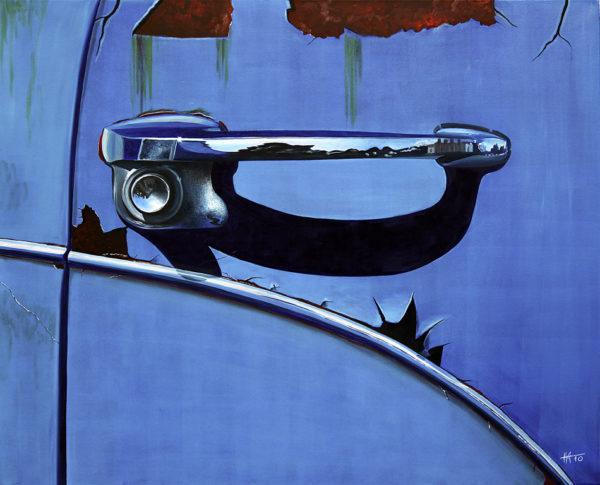bleu, chromes, galerie venturini, poignée de voiture, portière, rouille, sérrure