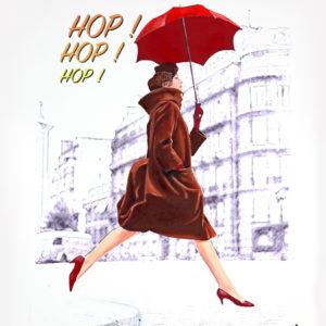 Femme, galerie venturini, hop!, JJV, manteau, parapluie rouge, paris, saut