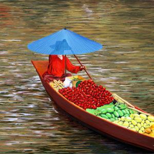 Bangkok, fruits, galerie venturini, JJV, légume, Marché Flottant, ombrelle