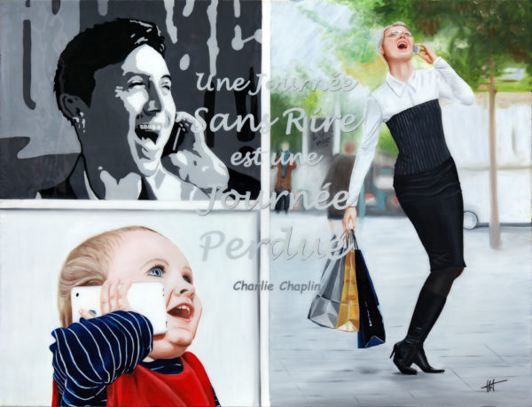 chaplin, famille, Femme, galerie venturini, Jeans, JJV, rire, smartphone