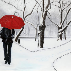 Femme, galerie venturini, JJV, neige, parapluie rouge, parc