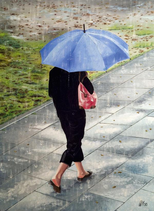 Femme, galerie venturini, JJV, neige, parapluie bleu, parc, pelouse, pluie