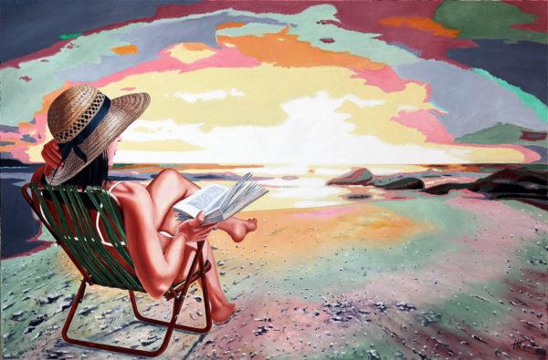 chapeau de paille, couché de soleil, Femme, galerie venturini, JJV, livre, marée, mer, reflets, rochers, sable, transat