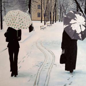 femmes, galerie venturini, JJV, neige, parapluie