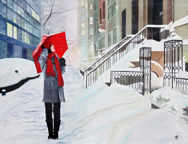escalier, Femme, galerie venturini, JJV, neige, parapluie rouge