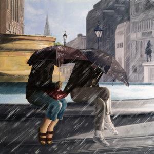 couple, Femme, fontaine, galerie venturini, JJV, parapluies, pluie