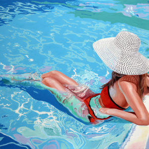chapeau blanc, Femme, galerie venturini, JJV, piscine, reflets