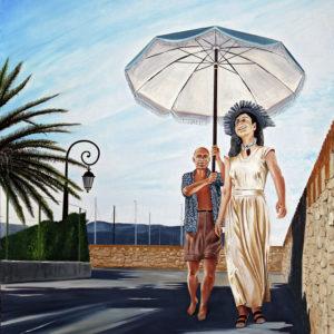 Femme, françoise gilot, galerie venturini, JJV, parasol, Picasso, remparts d'antibes