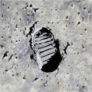 Buzz Aldrin, empreintes de pieds, galerie venturini, JJV, lune, vestigium pedis