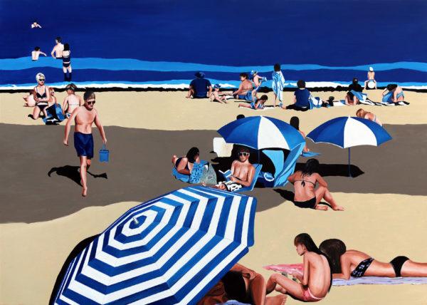 baigneurs, Femme, galerie venturini, JJV, mer, parasol, sable