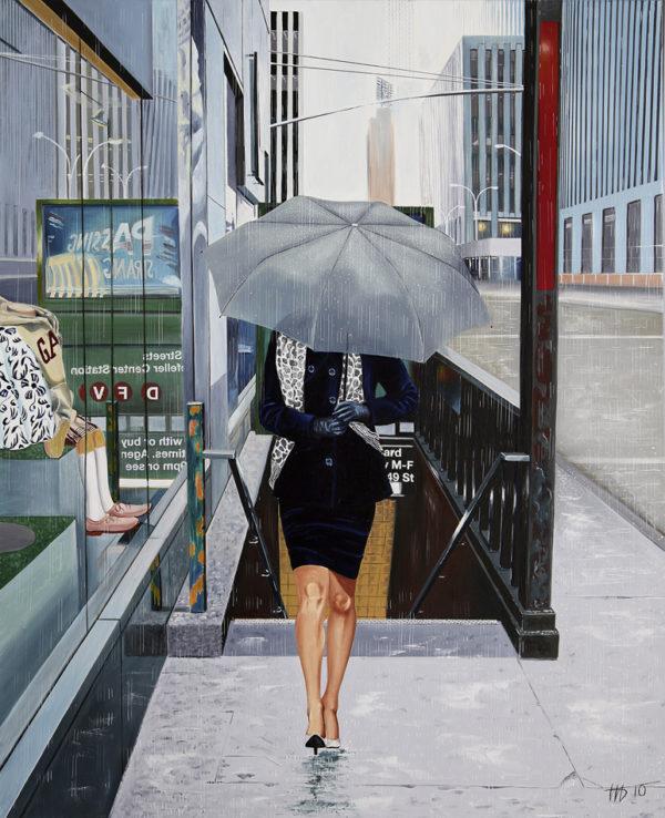 Femme, galerie venturini, grattes ciel, JJV, métro, parapluie gris, rue, tailleur, vitrine