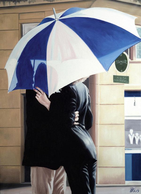 couple, Femme, galerie venturini, JJV, parapluie, rue, vitrine