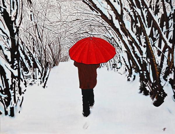 forêt, galerie venturini, homme, JJV, neige, parapluie rouge