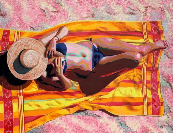 cannotier, Femme, galerie venturini, JJV, maillot de bain, Pop Art, serviette de plage