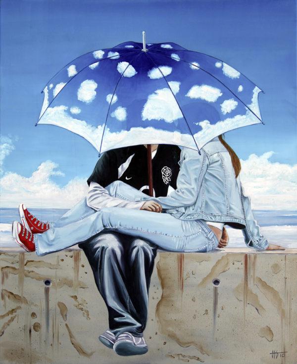 couple, flirt, galerie venturini, Jeans, jeune femme, JJV, nuages, parapluie