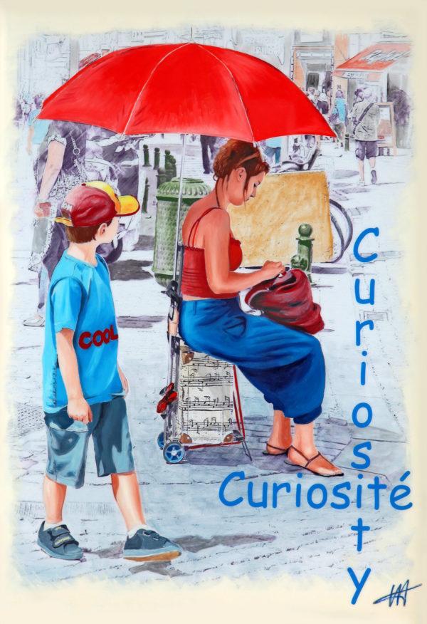 bleu, casquette, galerie venturini, JJV, parapluie rouge, rue, valise à roulettes, ville Non