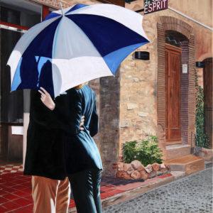 couple, galerie venturini, JJV, le figuier de saint esprit, ombre, parapluie, restaurant, rue, soleil, ville