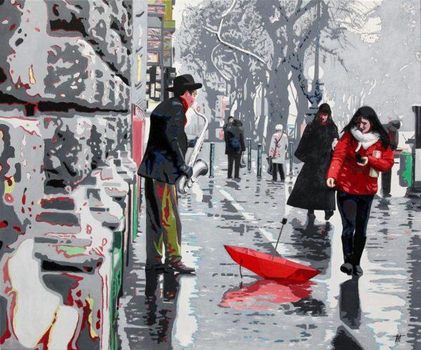 chapeau, galerie venturini, JJV, mur, parapluie rouge, passants, pluie, reflets, rue, saxophone