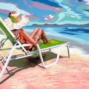 chapeau, ciel, Femme, galerie venturini, JJV, mer, Pop Art, sable, soleil, transat