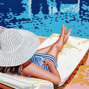 chapeau, Femme, galerie venturini, JJV, jupe rayée, moto, piscine, Pop Art, soleil, transat