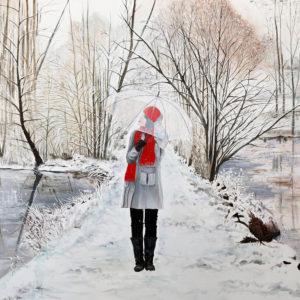 bonnet rouge, écharpe rouge, étang, Femme, forêt, galerie venturini, JJV, manteau gris, neige, parapluie transparent, rives