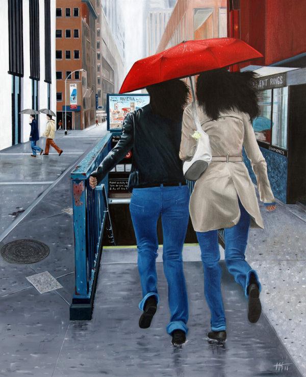 avenue, buildings, galerie venturini, JJV, magasins, métro, parapluie rouge, sœurs, vitrine
