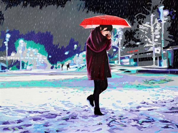 Femme, galerie venturini, JJV, luminaires, neige, nuit, parapluie rouge, reflet, smartphone