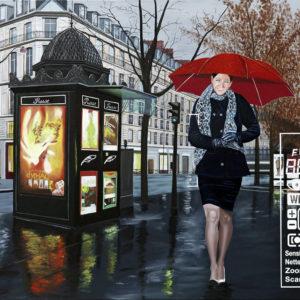 écharpe, Femme, galerie venturini, immeubles, JJV, kiosque, Paparazzi, parapluie rouge, pluie, presse people, scène médiatique, tailleur, ville