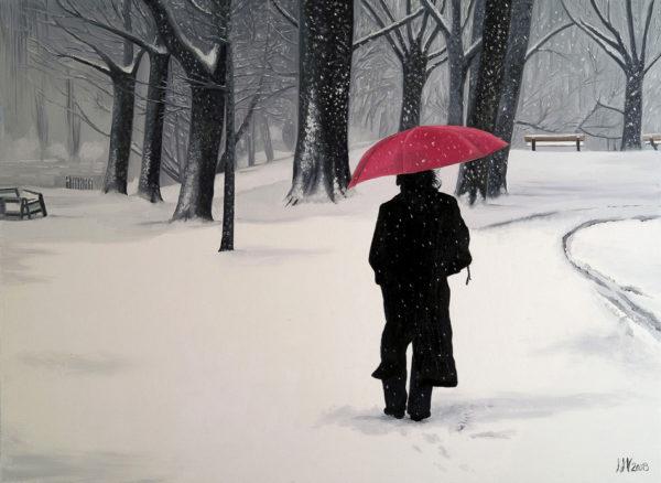 antibes, forêt, galerie venturini, hiver, JJV, Juan les pins, manteau, parapluie rouge, promenade
